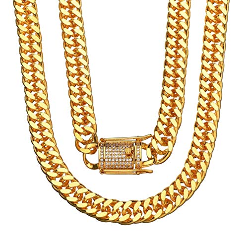 Ice City Mens Miami Cuban Link Chain Heavy Gold Plated Stainless Steel 10MM