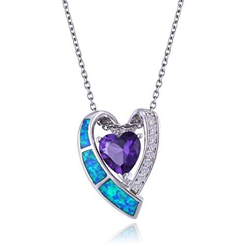 Purple Heart-Cut Amethyst Pendant in Sterling Silver with CZ and Blue Opal