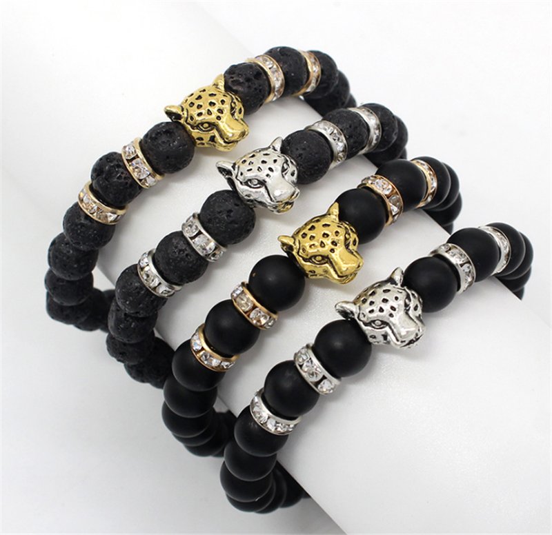 Matte Black Beaded Stone Leopard Head Unisex Beauty Silver Gold Crystal Jewelry