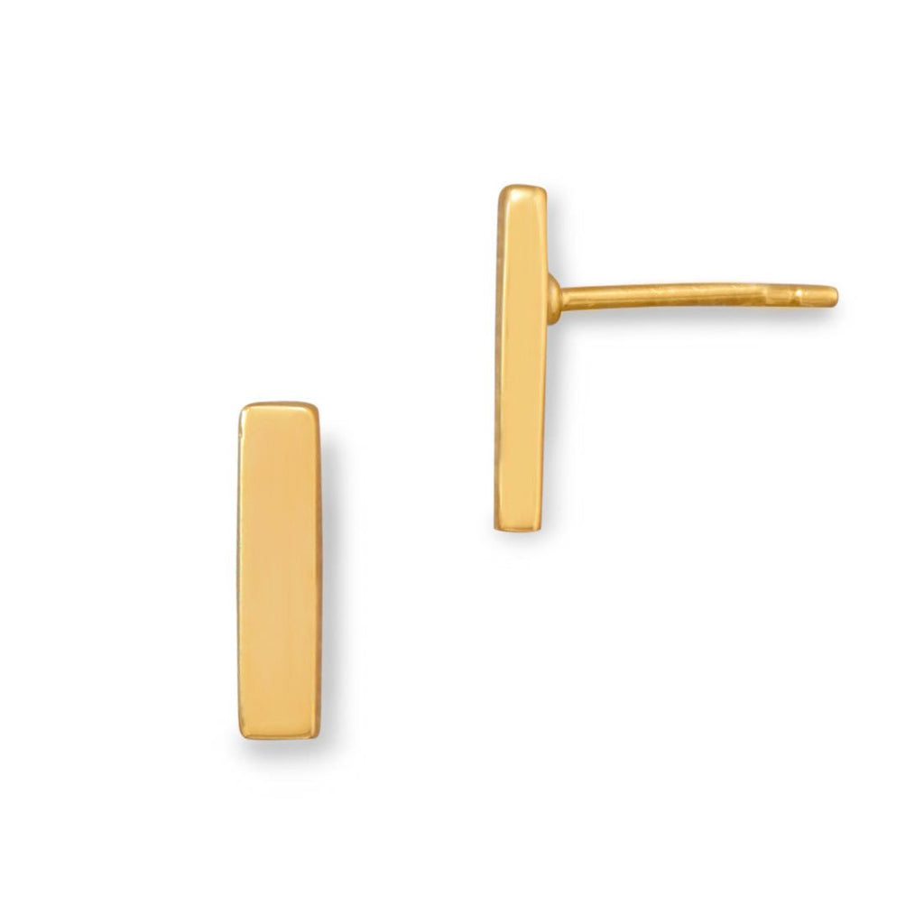 Gold Plated Bar Stud Earrings
