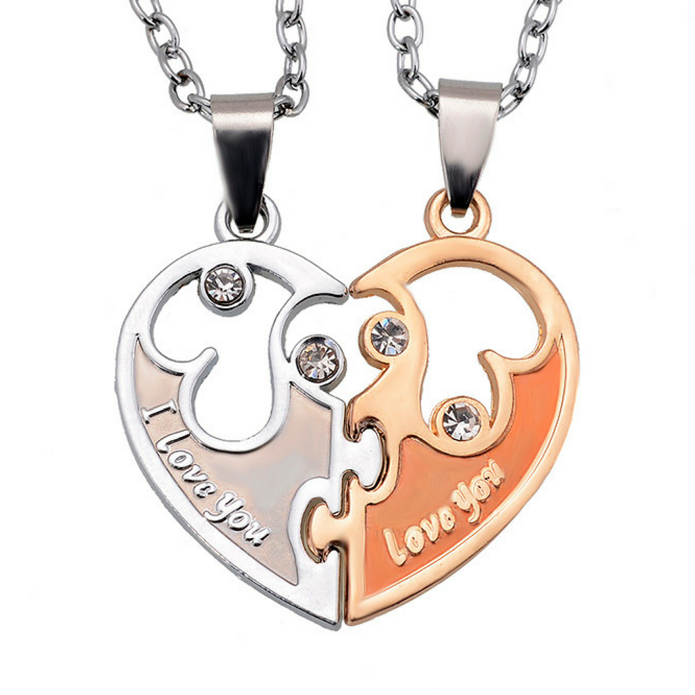 Half Heart I Love You Couple Lovers His Hers Matching Jewelry Necklaces 2 Piece