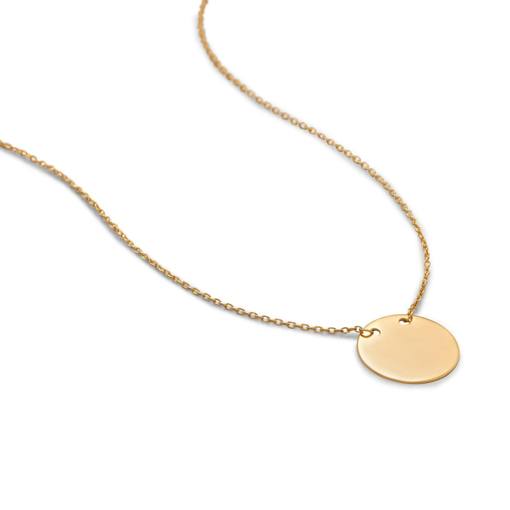 14 Karat Gold Plated Polished Round Engravable Disk Necklace