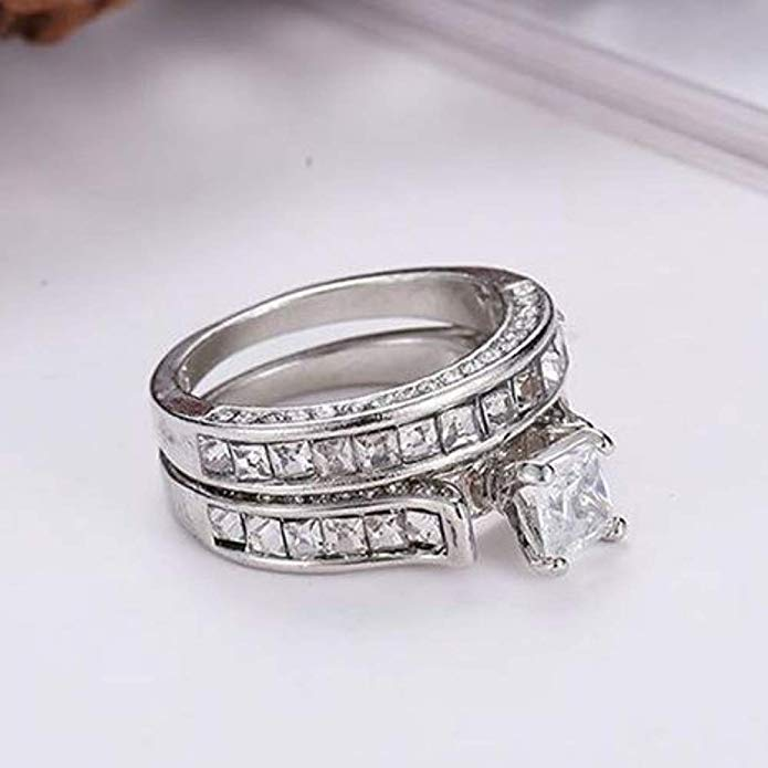 Sterling Silver CZ Crystal Engagement Wedding Band