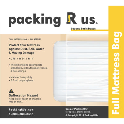 Full Mattress Bag Packing R Us Moving Packing Shipping Storing Supplies