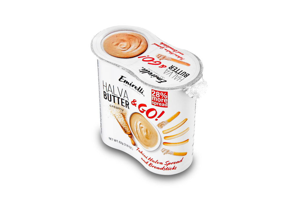 Emirelli Halva Butter & GO! Original Halwa & Breadsticks - Delicious Sesame Spread Made from Natural Sesame Paste – Melts in Your Mouth – Soft Creamy Spreadable Tahini Butter Sweet Snack