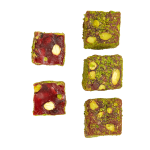 Pomegranate and Double Pistachio Cubes Turkish Delight