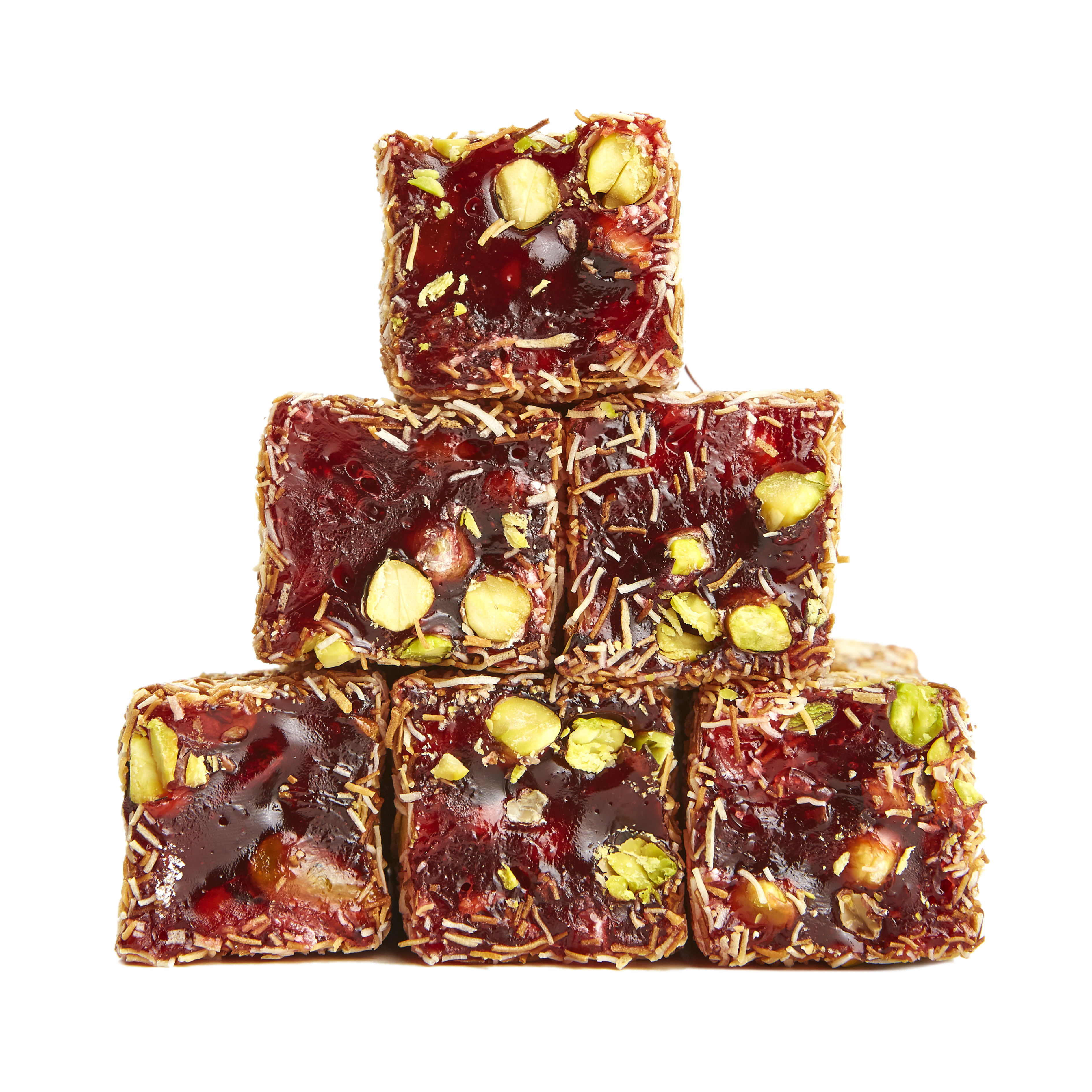 Shredded Wheat, Pomegranate and Pistachios Turkish Delight