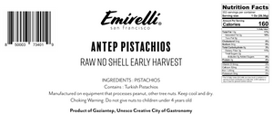 ANTEP PISTACHIOS - RAW, EARLY HARVEST, NO SHELLS - BULK