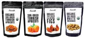 Emirelli MIX Dried Fruits - Organic Figs, Organic Apricots, Organic Mulberries and Apricots