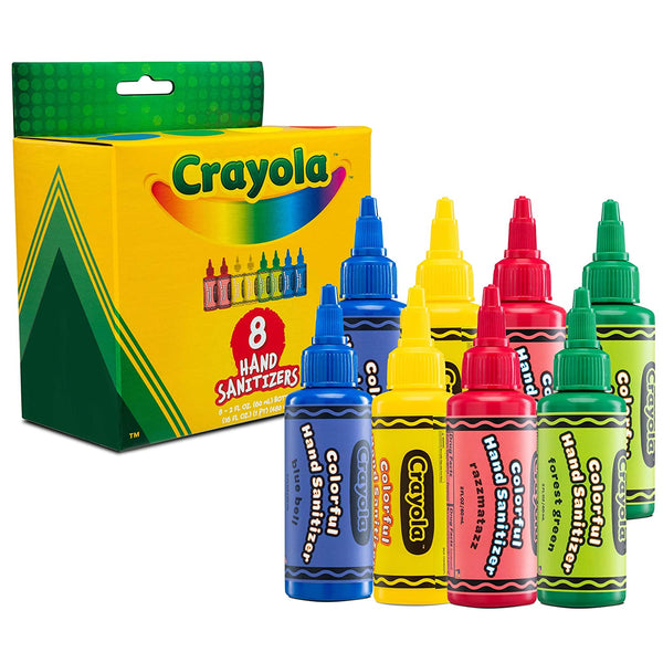 Crayola Hand Sanitizer for Kids, Pack of 8 Antibacterial Gel Bottles, 2 fl oz/ea