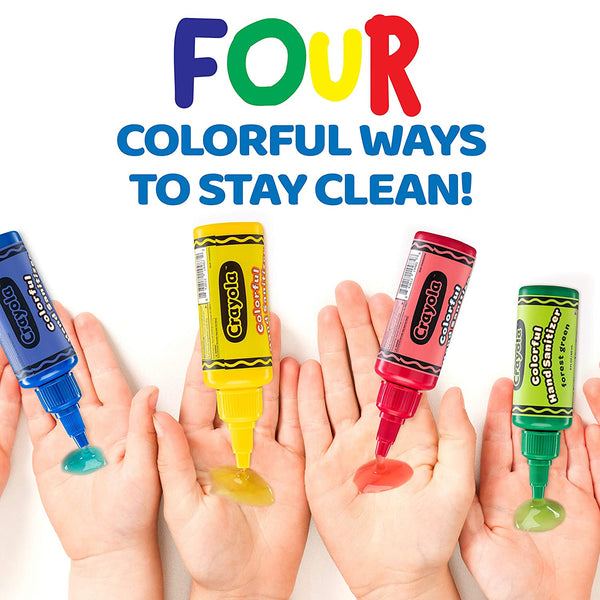 Crayola Kids Hand Sanitizer Gel, (4-Pack) 2 oz ea., 4 Colorful Holders Included.