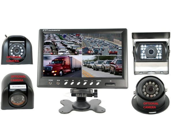 "4UCam 9"" Quad View Split Screen Monitor + CCD Wired Camera for RV, Trailer, Motor Home, 5th Wheels and Trucks Backup or Rear View"