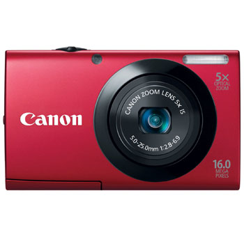 Canon PowerShot A3400 IS Compact Digital Camera (Red)