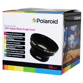 Polaroid 52-58mm .43x Super Wide Angle Lens with Macro Attachment