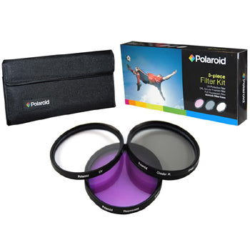 Polaroid 49mm 3 Piece Camera Lens Circular Filter Set (UV, CPL, FLD)
