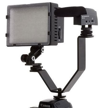 Polaroid V-Shaped Dual Camera Bracket with 2 Standard Shoe Mounts