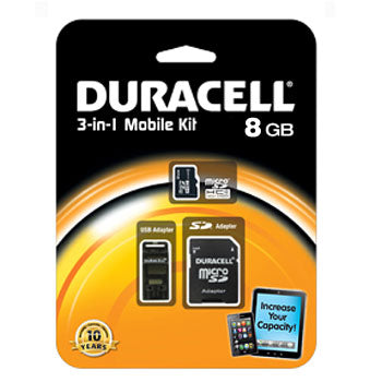 Duracell 8GB Micro-SD Memory Card w-USB Adapter