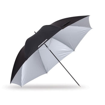 "Westcott 45"" Soft Silver Collapsible Umbrella with Black Backing"