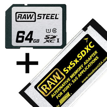 Hoodman 64GB RAW Steel SDHC Class 10 Memory Card & Adapter Kit