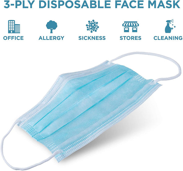 Jumbl Blue Disposable Face Masks | Protective 3-Ply Breathable Comfortable Nose/Mouth Coverings for Home & Office | Elastic Ear Loop 3-Layer Safety Shield for Adults/Kids | Pack of 500 Ships from USA