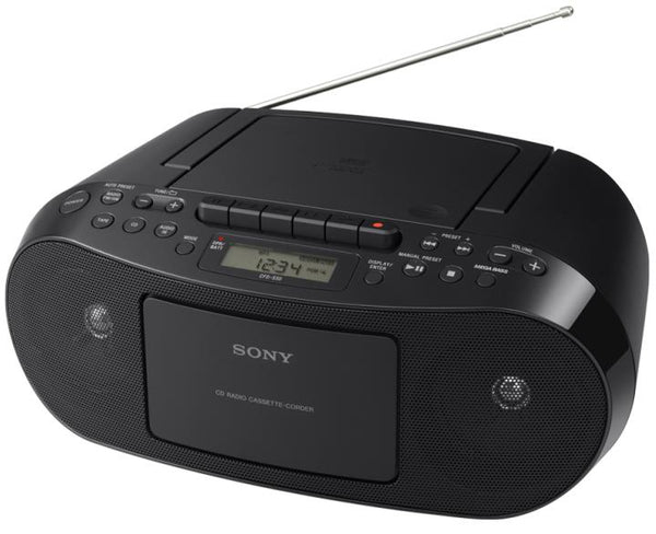 Sony Compact Portable Stereo Sound System Boombox with MP3 CD Player, Digital Tuner AM-FM Radio, Cassette Recorder, Headphone Output & AUX Jack