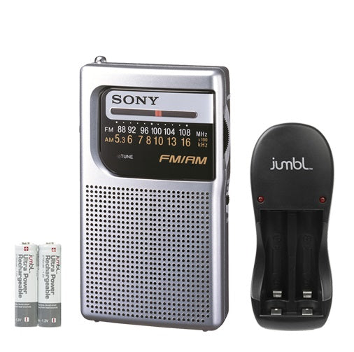 Sony Portable AM-FM Pocket Radio with Built-in Speaker, Headphone Jack, LED Tuning Indicator & Carry Strap - Includs Charger & Rechargeable Batteries