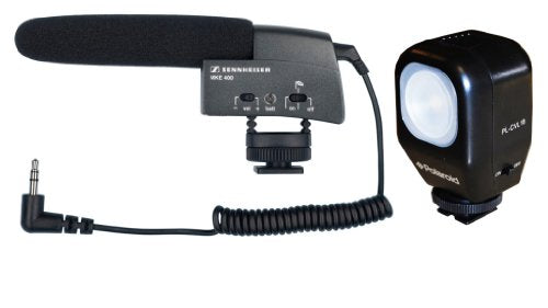 Sennheiser MKE 400 Shotgun Microphone with Polaroid Studio Series Camcorder Video Light Includes Mounting Bracket