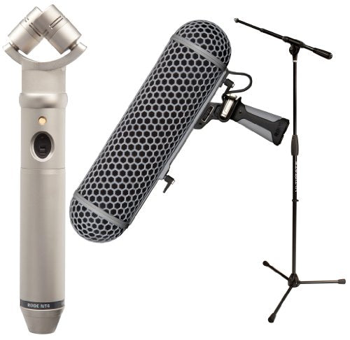 Rode NT4 - X-Y Stereo Condenser Microphone with Ultimate Support PRO-T-T Tripod Microphone Stand and Rode BLIMP Windshield - Suspension System