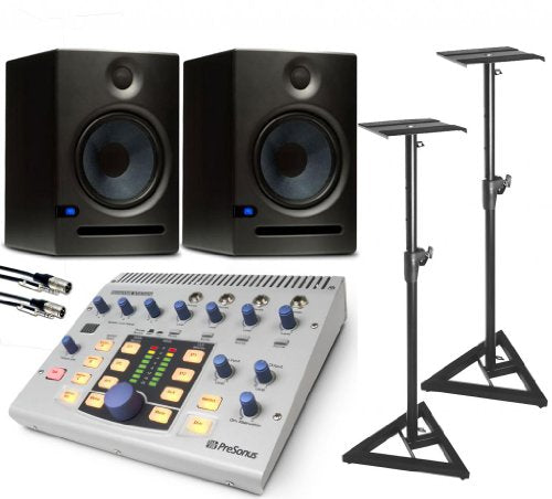 Presonus Monitor Station with Eris E8 Studio Monitors -Pair, 2 Comprehensive 10' Cables, SMS6000 Floor Stand - Pair