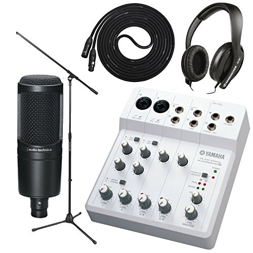 Yamaha Audiogram-6 USB Audio Interface with Audio Technica AT2020 Mic, on Stage Boom Mic Stand, LyxPro 10' Black Premium Cable XLR and Sennheiser HD 202II Headphones