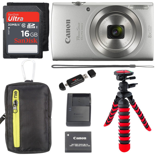 "Canon Canon PowerShot Elph 180 Digital Camera Kit (Silver) with Camera Bag, 12"" Tripod, 16GB Memory Card and More"
