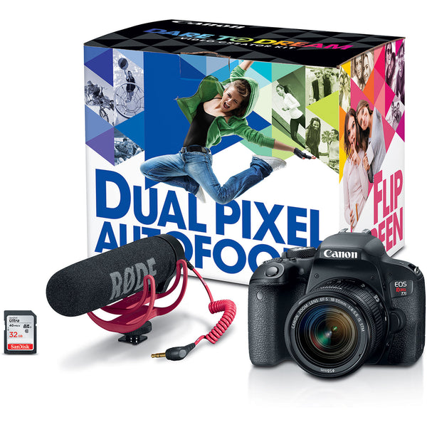 Canon EOS Rebel T7i Video Creator Kit with Light and Bag