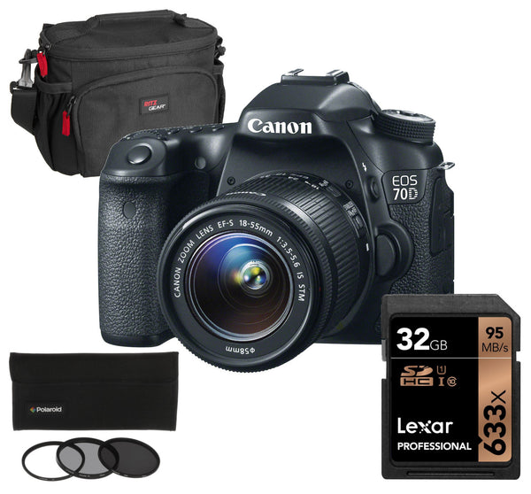 Canon EOS 70D DSLR with 18-55mm Lens and Photo Essentials Kit