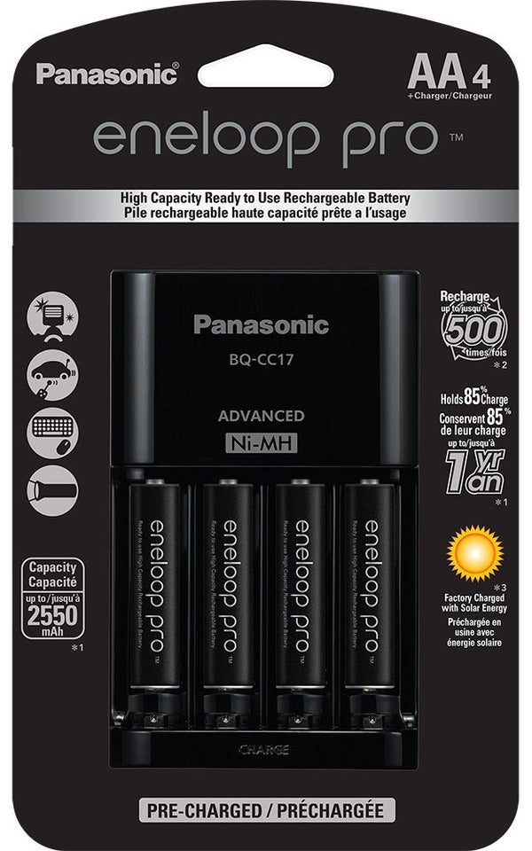 Panasonic Eneloop Pro Battery Charger with 4AA Batteries
