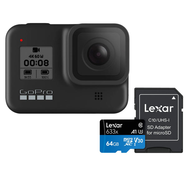 GoPro HERO 8 Black 4K Waterproof Action Camera with Lexar 633x 64GB Memory Card [Black Friday]