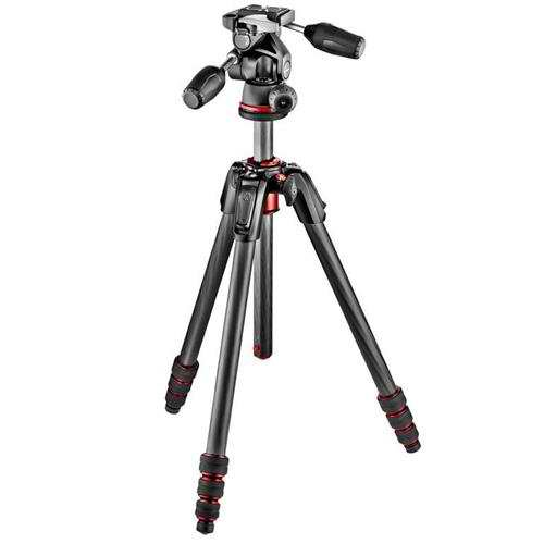 Manfrotto 190 GO! 4 Section Carbon Fiber Tripod with 3 Way Head