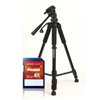 "RITZCAMERA Dane Elec 8 GB Class 10 SD Card + Polaroid 57"" Pro Tripod"