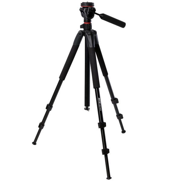 "Ritz Gear 60"" Tall Deluxe Tripod with Pan Head and 3 Leg Sections with Flip Locks"