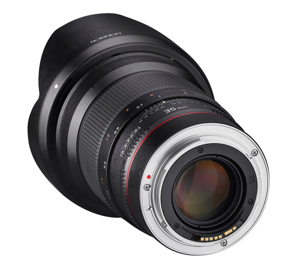 Rokinon 35mm F1.4 UMC Wide Angle Lens for Canon AE with Automatic Chip