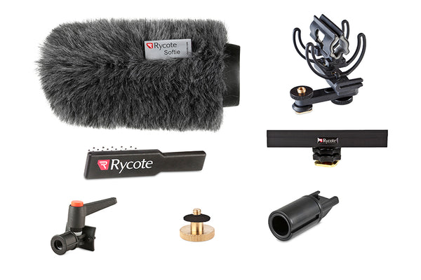 "Rycote 116011 15cm Standard Hole Classic-Softie Camera Kit (19-22), incl. Classic-Softie Windshield, hairbrush, InVision Video (Hot Shoe) Duo-Lyre Shockmount, 10cm Hot Shoe Extension, 3-8"" Boom Swivel with Lever Camera Mic Clamp-Hot Shoe Adaptor, 1-4"" Ada"