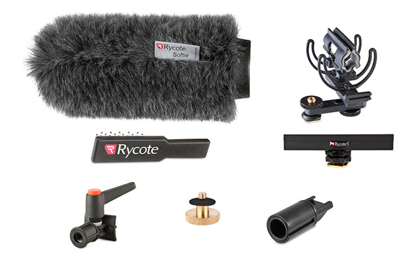 "Rycote 116012 18cm Standard Hole Classic-Softie Camera Kit (19-22), incl. Classic-Softie Windshield, hairbrush, InVision Video (Hot Shoe) Duo-Lyre Shockmount, 10cm Hot Shoe Extension, 3-8"" Boom Swivel with Lever Camera Mic Clamp-Hot Shoe Adaptor, 1-4"" Ada"