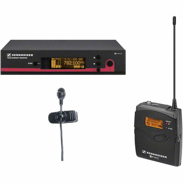 Sennheiser EW122G3-G SK100 G3 bodypack transmitter, ME4 cardioid lavalier and EM100 G3 rack-mountable receiver. GA3 rack kit not included. (566-608 MHz)