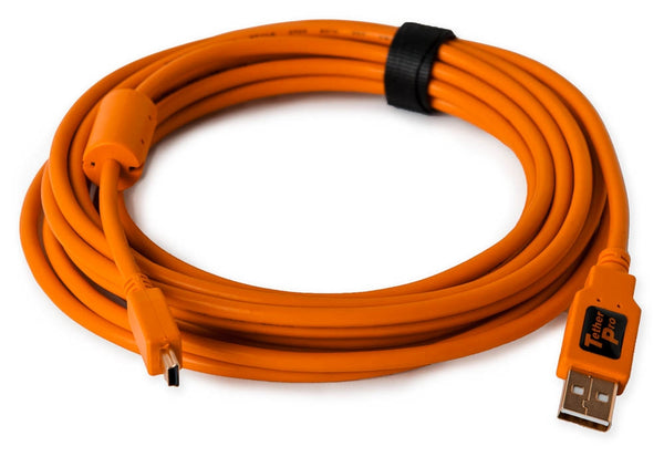 Tether Tools 15 USB 2.0 Type-A Male to 5 Pin Mini USB Cable (Orange)