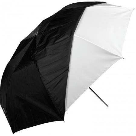 "Westcott Compact 43"" White Satin Umbrella with Removable Black Cover - Collapsible"