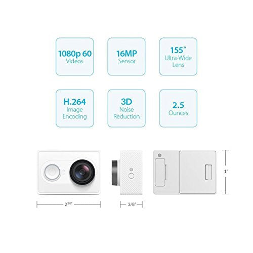 YI Action Camera Kit with Selfie Stick & Bluetooth Remote (White)