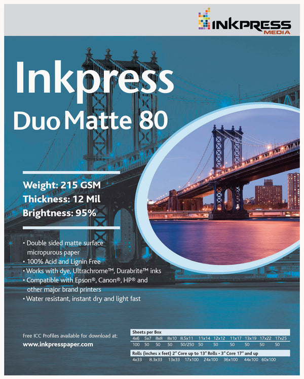 Inkpress Duo Matte 80 12  X  12, 50 Sheets