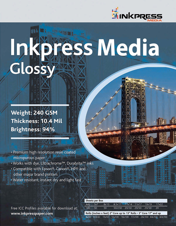Inkpress Glossy Paper 8  X  10, 50 Sheets