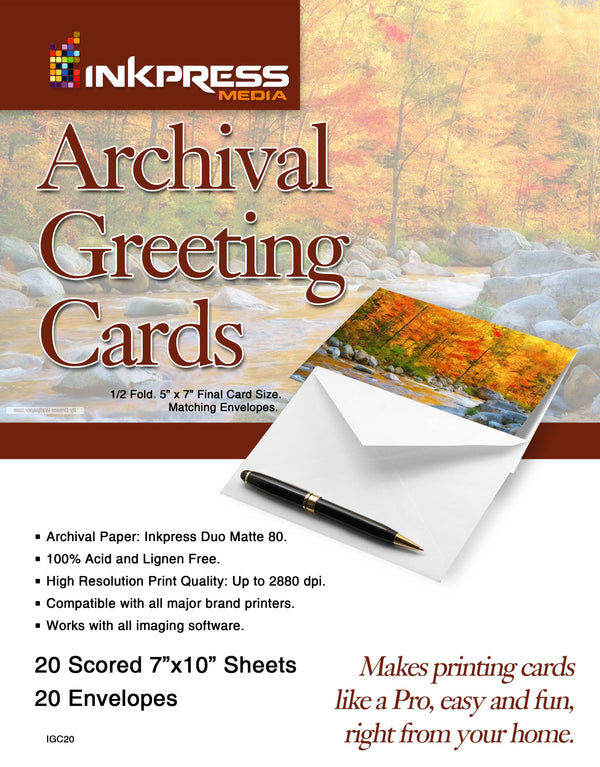 Inkpress Archival Greeting Card Paper with Matching Envelopes 7''X10''-5''x7'', 100 Sheets