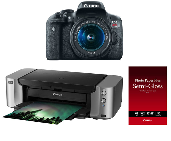 Canon EOS Rebel T6i DSLR Camera with 18-55mm IS STM Lens and Pixma Pro-100 Printer