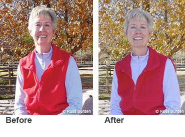 Before and after woman in red vest